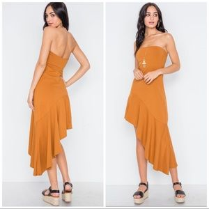 Clay Colored Halter Side angle asymmetric Dress